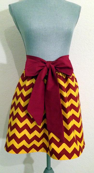 Garnet and Gold Chevron Full Skirt
