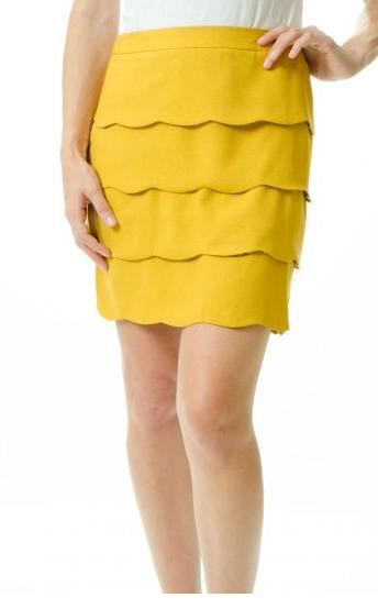 Mustard Scalloped Skirt