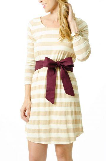 Everly Ivory and Gold Dress with Garnett Sash