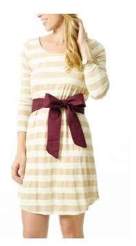L Mae Gold Striped Dress and Garnet Sash
