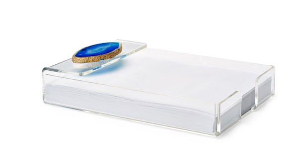 7'' Acrylic Notepad Tray with Blue Agate